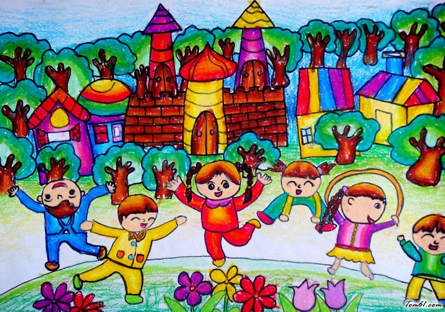 国庆节水彩画图集图片