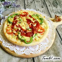 彩椒火腿时蔬披萨的做法
