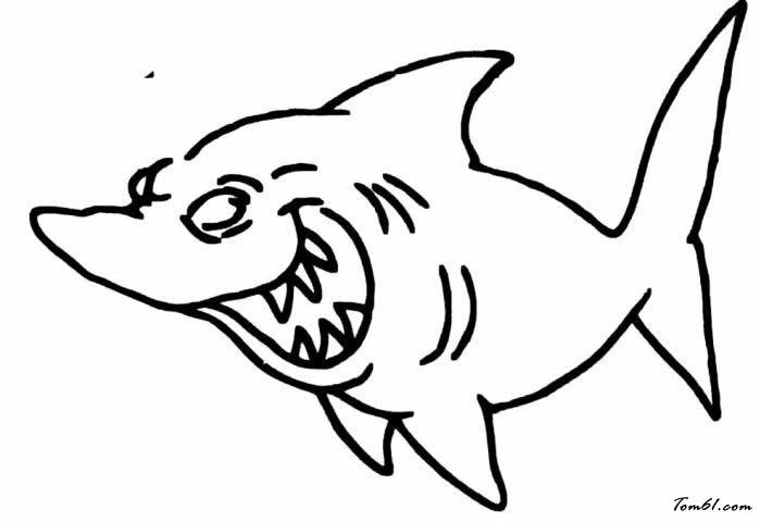 鲨鱼图片_简笔画图片_少儿图库_中国儿童资源网