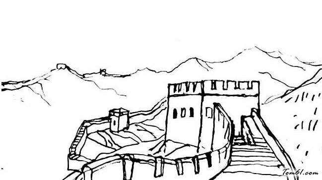 手繪長城的 天安門畫