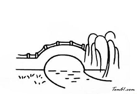 拱桥简笔画风景