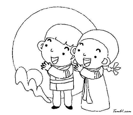 中秋赏月吃月图片_简笔画图片_少儿图库_中国儿童资源