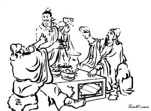 古人喝酒赏月图片_简笔画图片_少儿图库_中国儿童资源