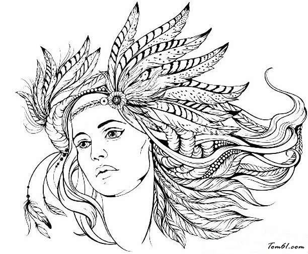 女印第安人头像图片_简笔画图片_少儿图库_中国儿童