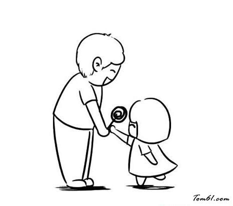 父女牵手的简笔画_父女