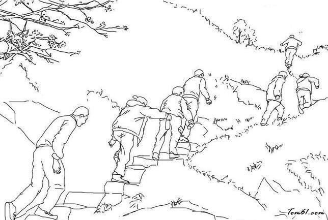 登山简笔画风景图片