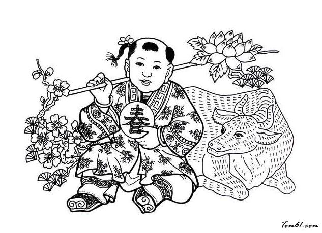 娃娃年画图片_简笔画图片_少儿图库_中国儿童资源网