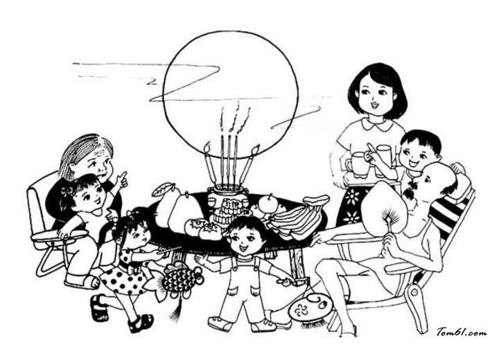 中秋节团员赏月图片_简笔画图片_少儿图库_中国儿童