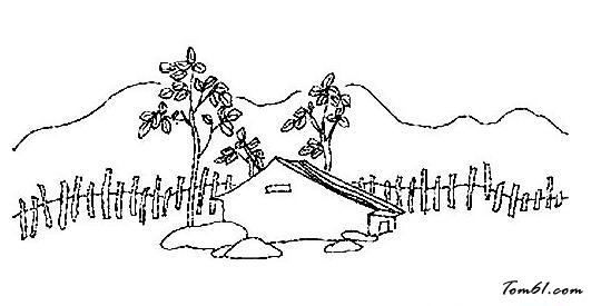鄉村田園風景圖片_簡筆畫圖片_少兒圖庫_中國兒童資源