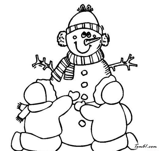 冬天堆雪人图片_简笔画图片_少儿图库_中国儿童资源网