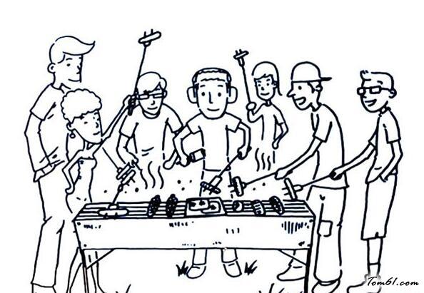 烧烤步骤图简笔画