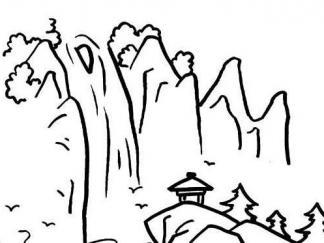庐山瀑布图片 简笔画图片 少儿图库