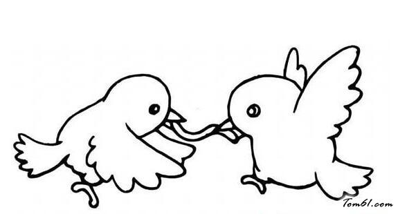 小鸡争虫子图片_简笔画图片_少儿图库_中国儿童资源网