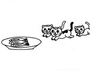 小猫吃鱼图片 简笔画图片 少儿图库