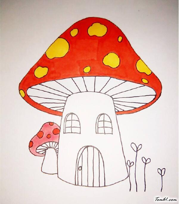 蘑菇小房子简笔画_卡通蘑菇房图片_学习简笔画_少儿图库_中国儿童资源网