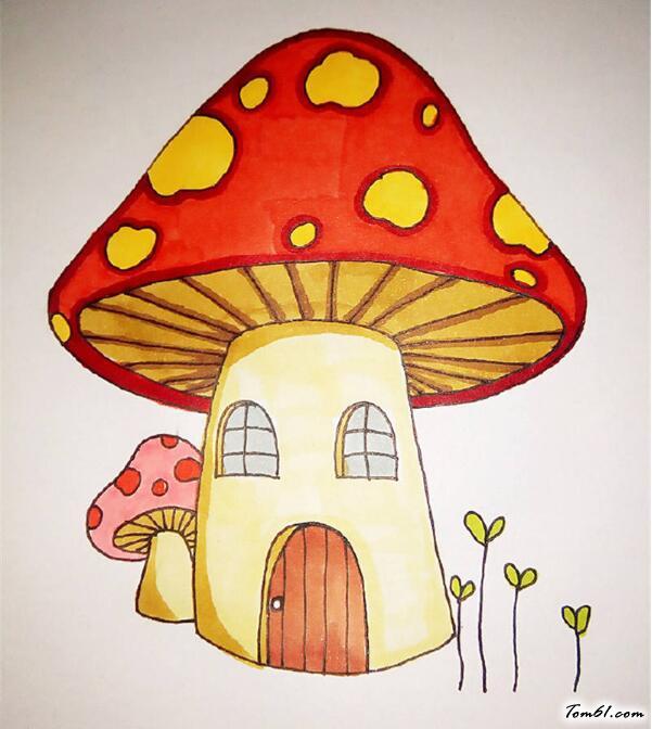 变色龙简笔画_卡通蘑菇房图片_学习简笔画_少儿图库_中国儿童资源网
