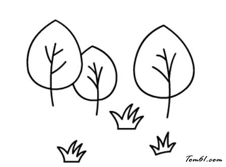 草丛简笔画步骤