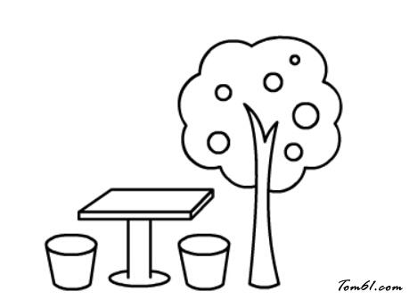 果树与石凳图片_学习简笔画_少儿图库_中国儿童资源网