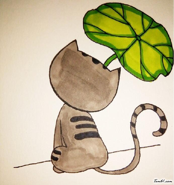 猫咪的背影图片_学习简笔画_少儿图库_中国儿童资源网