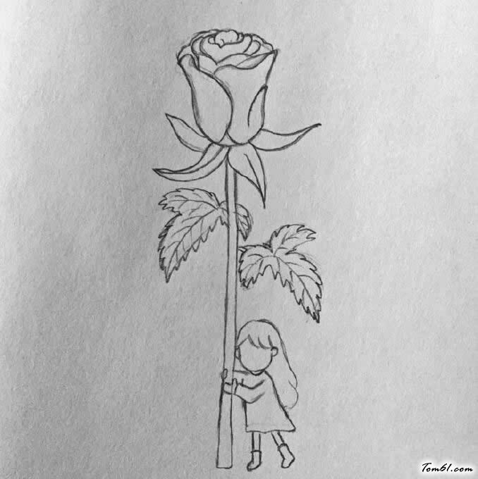 玫瑰花少女图片_学习简笔画_少儿图库_中国儿童资源网