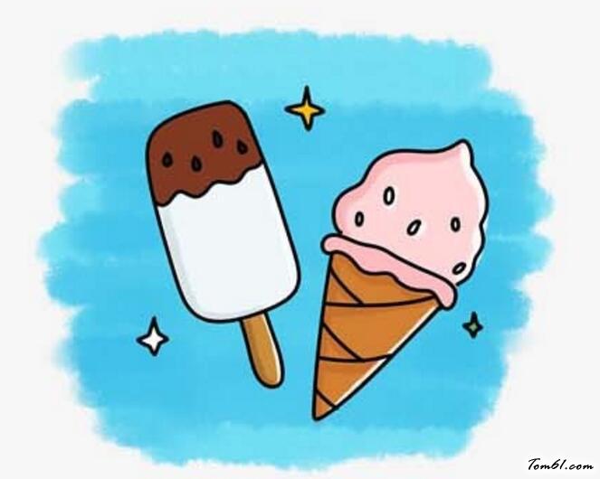 卡通冰淇淋简笔画-并欺凌