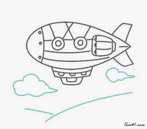 飞艇简笔画图片大全