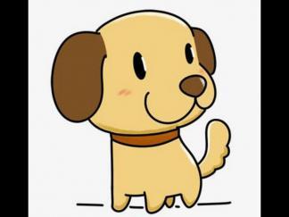卡通小狗简笔画彩色
