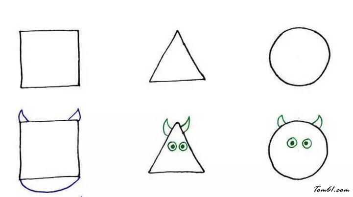 正方形,圆形,三角形的奶牛图片_学习简笔画_少儿图库图片