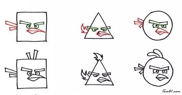 正方形,圆形,三角形的愤怒的小鸟图片_学习简笔画图片
