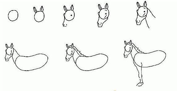 马简笔画步骤1