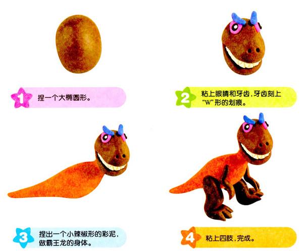 橡皮泥恐龙霸王龙的做法图解