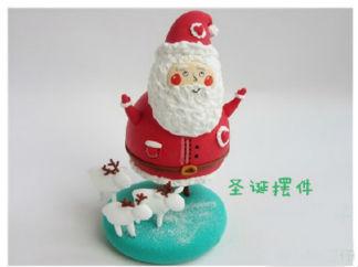 圣诞老人的彩泥橡皮泥制作教程图解3
