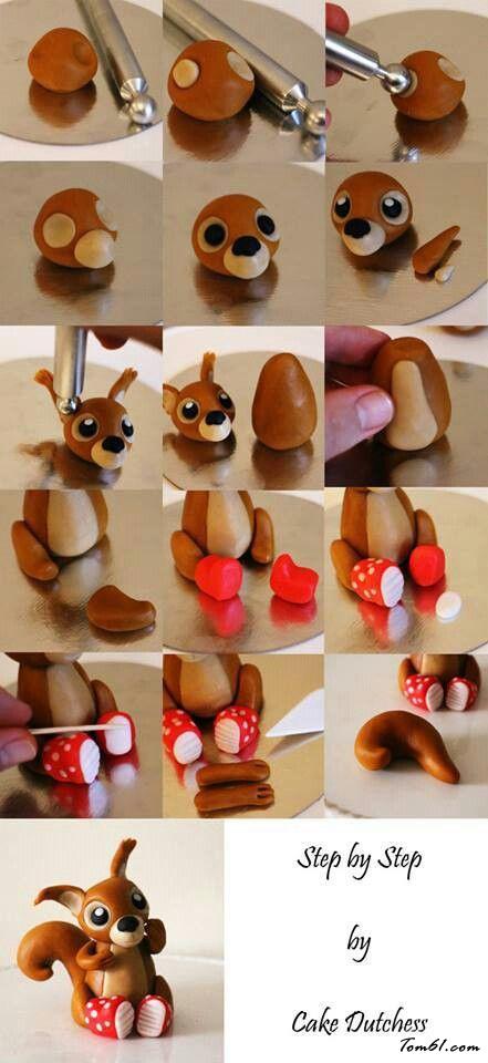 松鼠的彩泥橡皮泥制作教程图解图片1