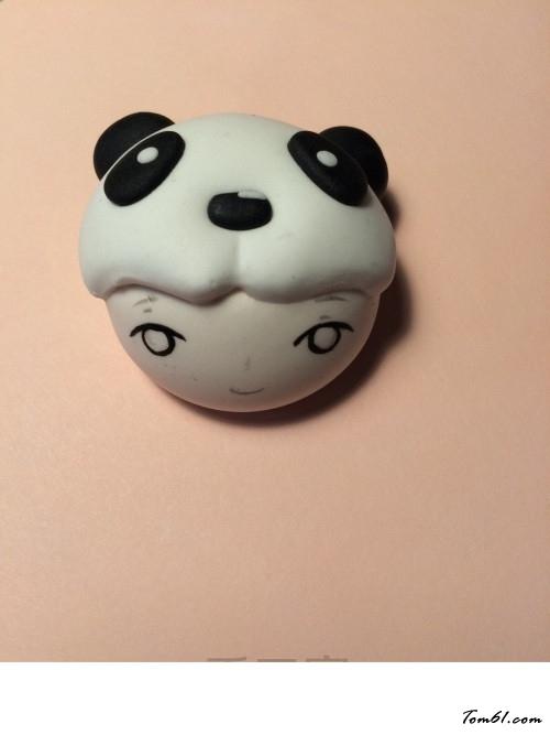 的彩泥橡皮泥制作教程图解熊猫娃娃胸针图片5