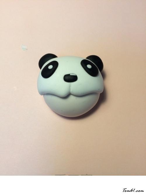 的彩泥橡皮泥制作教程图解熊猫娃娃胸针图片4