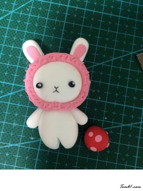兔子和熊钥匙小挂饰的彩泥橡皮泥制作教程图解图片14