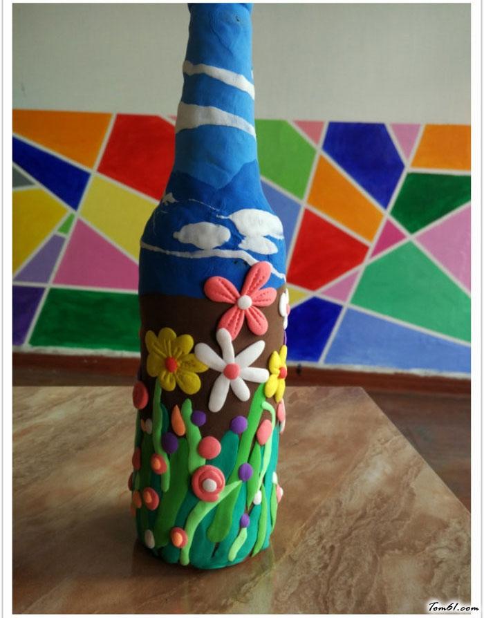 啤酒瓶花瓶的彩泥橡皮泥制作教程图解