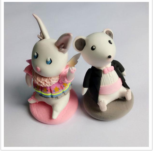 小兔子和老鼠玩偶的彩泥橡皮泥制作教程图