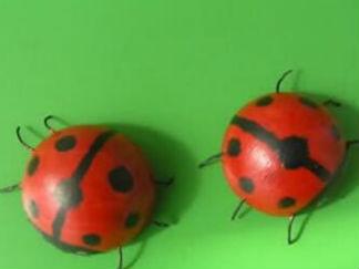 乒乓球手工制作七星瓢虫废物利用的创意制