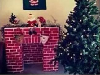 废纸箱制作圣诞壁炉的废物利用的创意制作