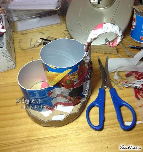 薯片罐的废物利用的创意制作图解教程图片