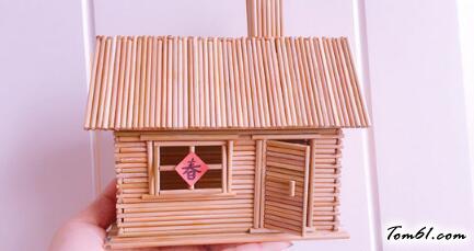 牙簽小木屋的廢物利用的創意制作圖解教程