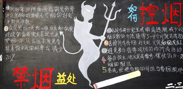 禁烟的益处-黑板报版面设计图