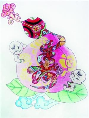 蛇年黑板报花边图案设计 金蛇蟠桃