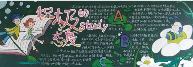 积极的学习态度-黑板报版面设计图