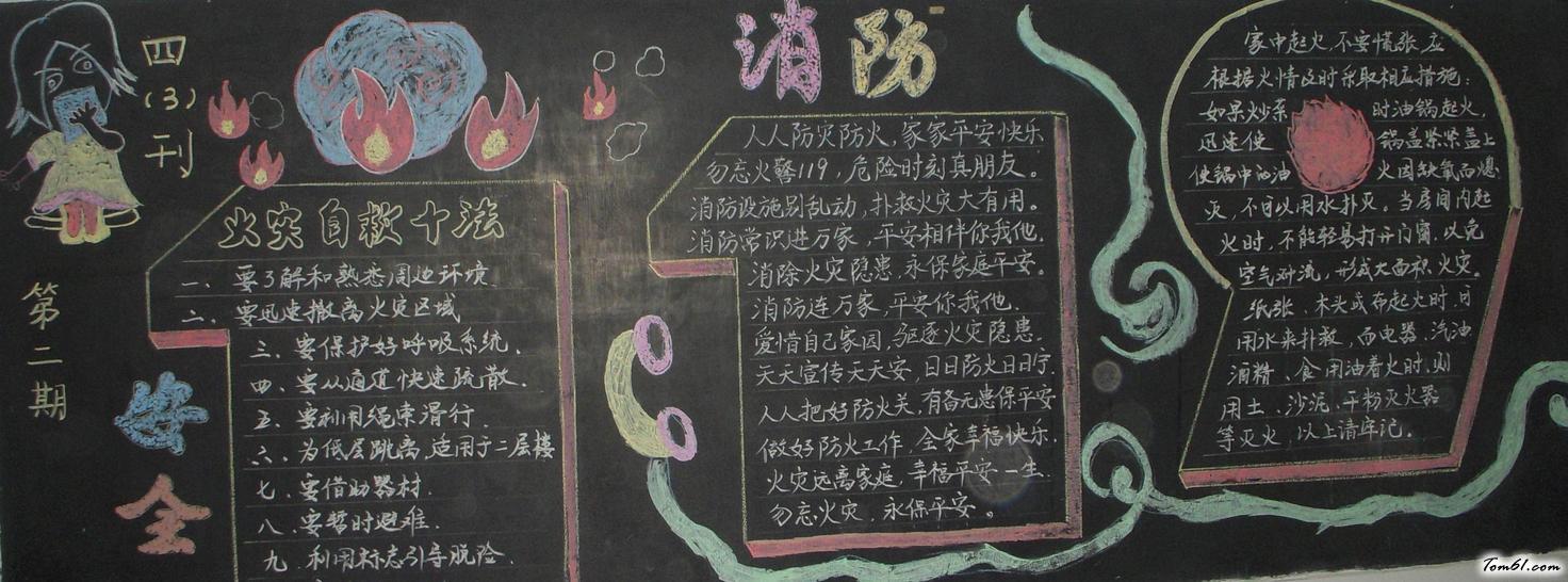 小学生安全-黑板报版面设计图