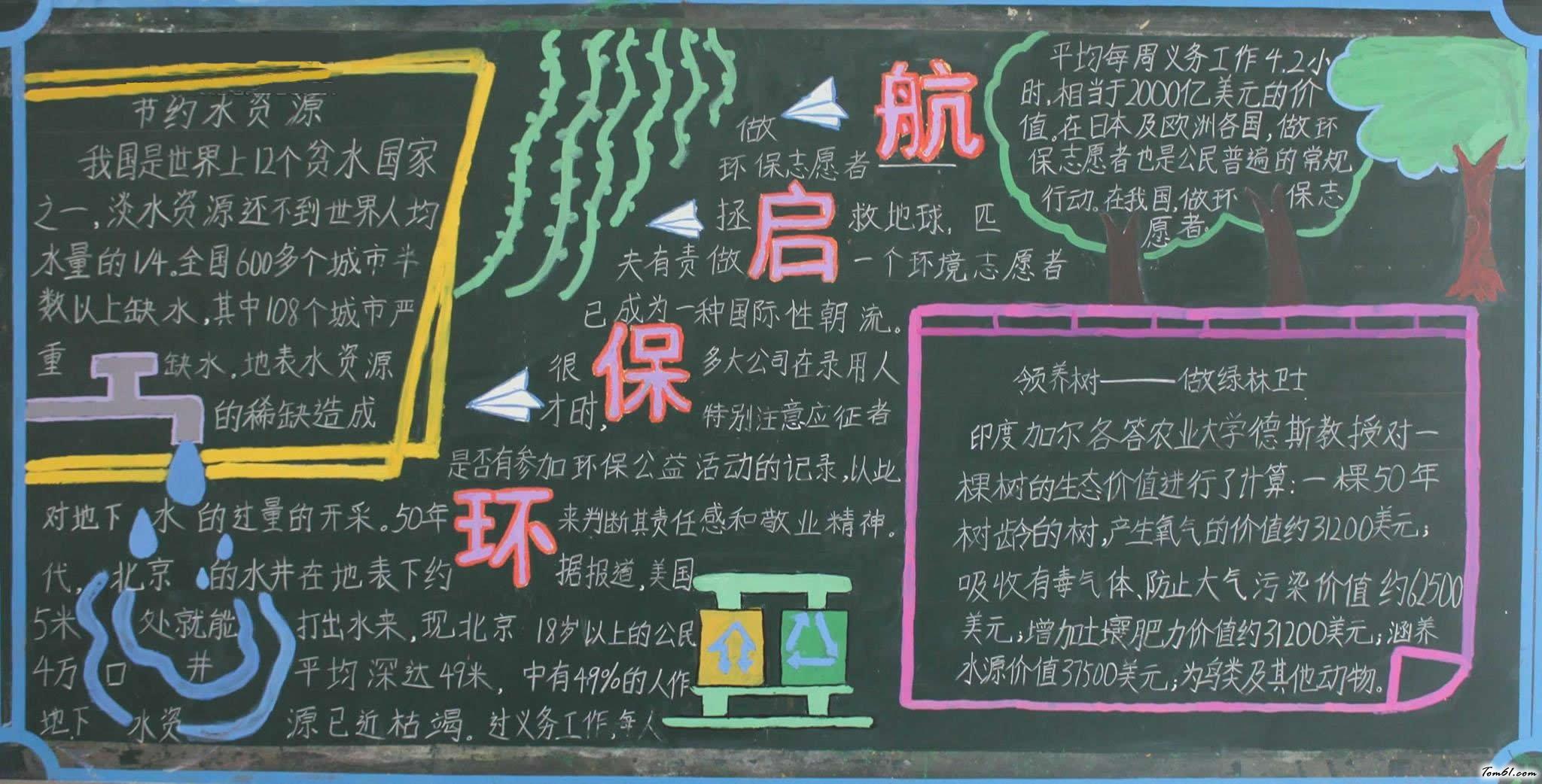 起航环保-黑板报版面设计图_黑板报大全_手工制作大全