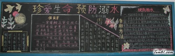 珍爱生命中学生黑板报版面设计图