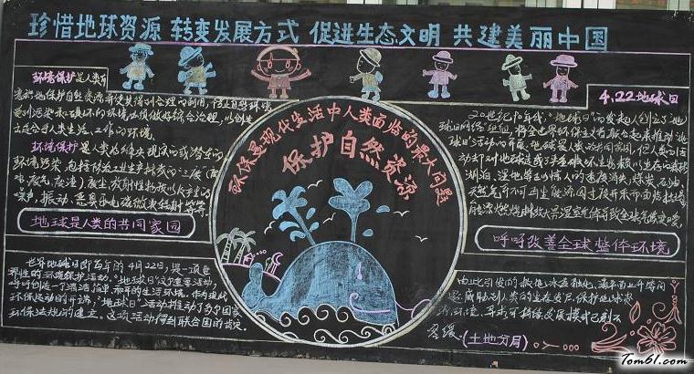 世界地球日的黑板报版面设计图