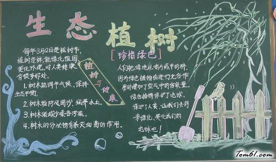 简单好看的植树节黑板报版面设计图4_黑板报大全_手工